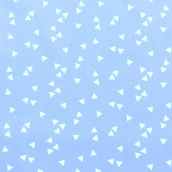 Lili Triangels, weiß auf hellblau, Webstoff, waschbar bei 60°