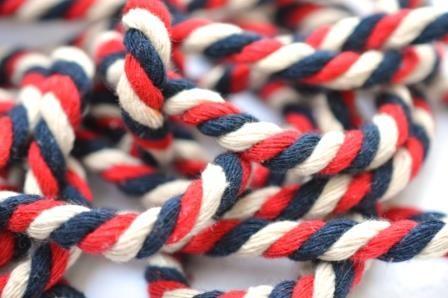 Baumwollkordel, S, dunkelblau/beige/rot