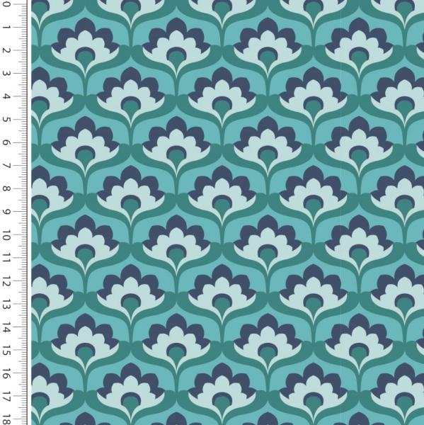 Digitaldruck Retro Blumen petrol/blau Jersey