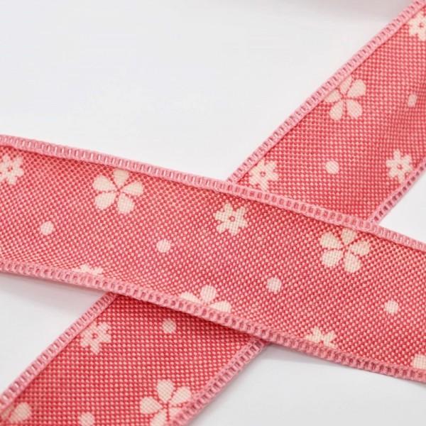 Blumen und Punkte, rot, Baumwollband