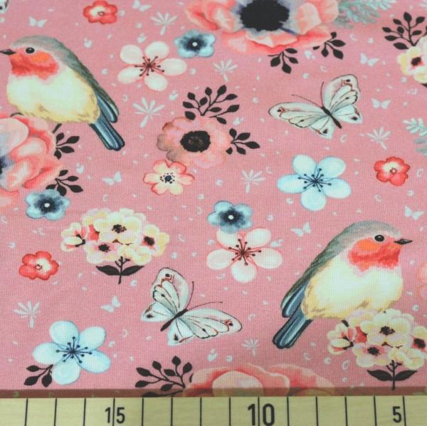 Flowers&Birds rosa, Jersey
