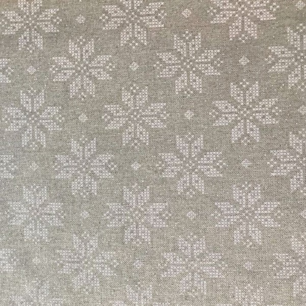 Schneeflocken glitzernd, Deko-Baumwollstoff