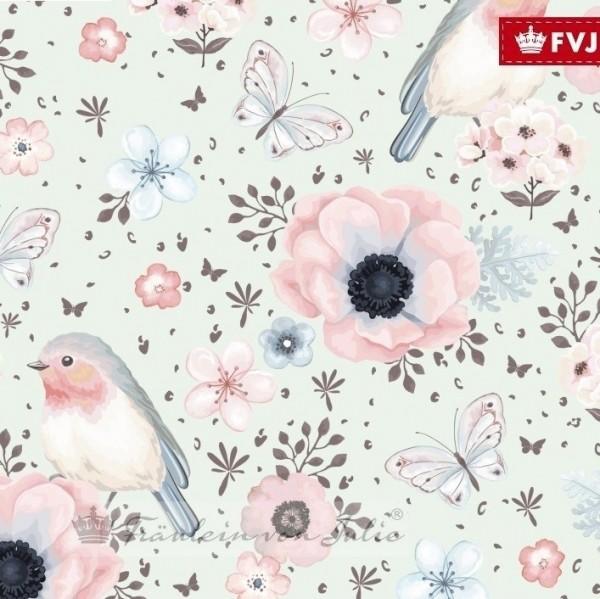 Fräulein von Julie, Flowers&Birds mint, Jersey