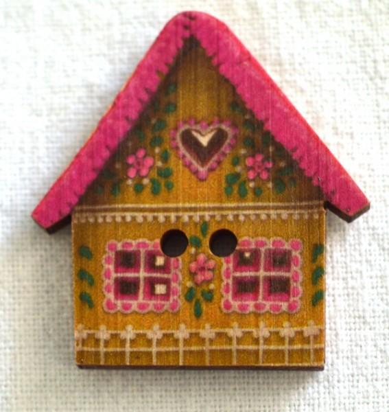 Häuschen, pink , Holzknopf