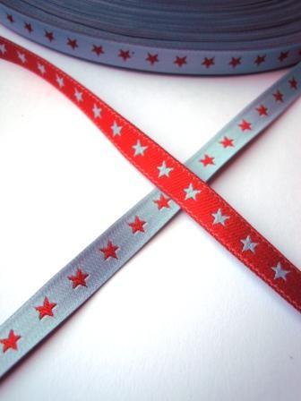 schmales Sternchenband, rot-hellblau, Webband beidseitig
