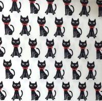 KOKKA Kätzchen schwarz auf weiß, Webstoff