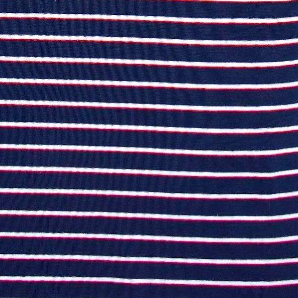Ringelbündchen dunkelblau mit schmalen Streifen in weiß/rot