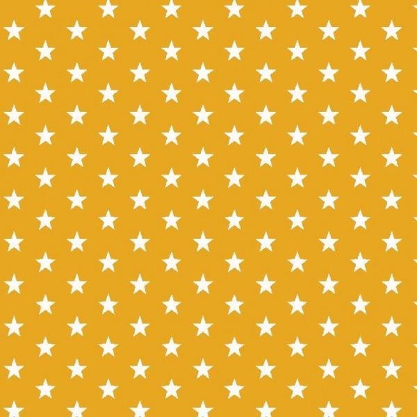 Lili Small Star weiß auf senfgelb, Webstoff, waschbar bei 60°