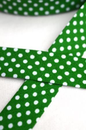 Schrägband, gepunktet, weiß auf grün