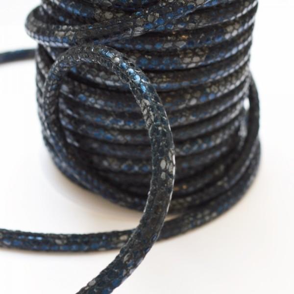Kunstlederkordel, Schlangenoptik, blau-schwarz