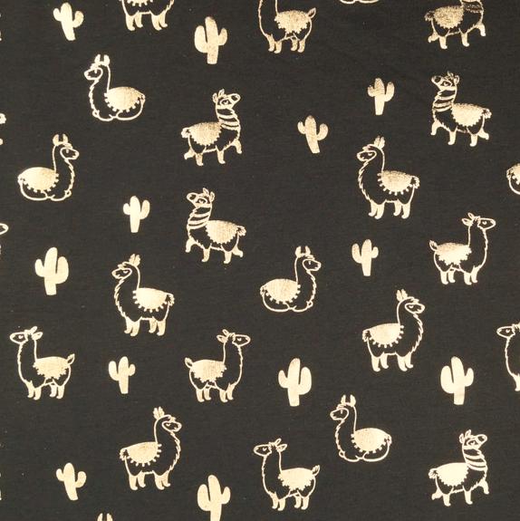Lamas silber auf dunkelblau, Jersey