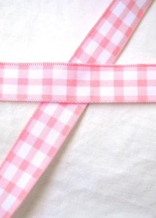 Stoffband, rosa kariert (groß), 15 mm