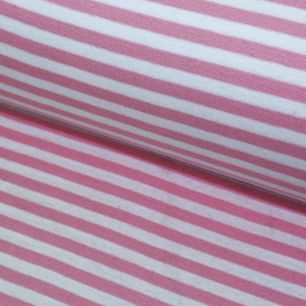 Bündchen breit gestreift rosa-weiß