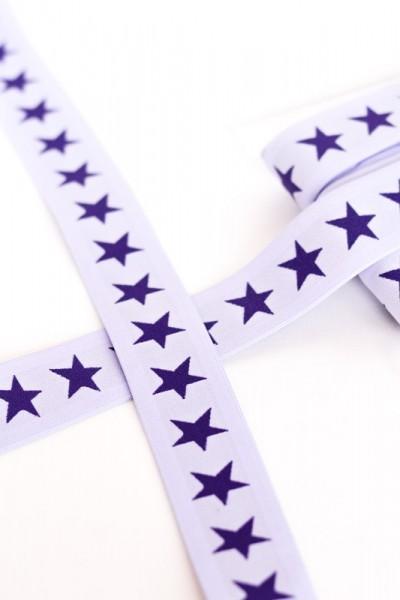 Gummiband breit, Sterne blau auf weiß