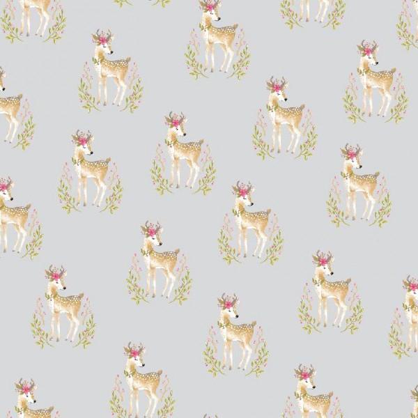 Woodland Deer grau, Baumwolllstoff