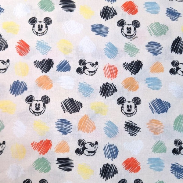 Mickey Mouse& Dots auf offwhite, Baumwoll-Popeline