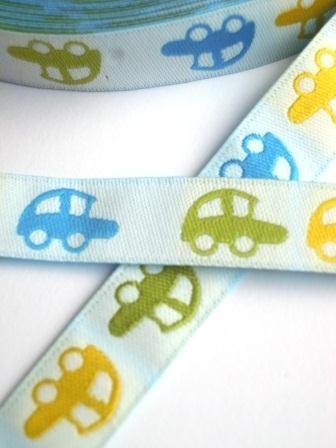 Autos, grün-blau-gelb, Webband *SALE*