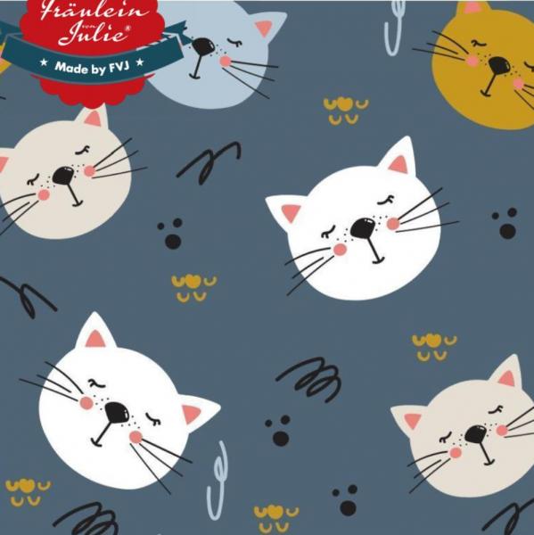 Fräulein von Julie, Katzenköpfchen auf graublau, Jersey