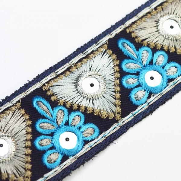 Boho Spiegelborte, Luxus, dunkelblau-silber