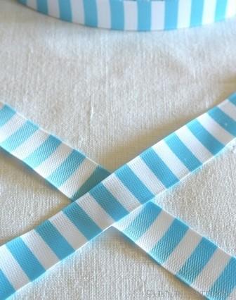 Ringelband, hellblau-weiß, Webband beidseitig