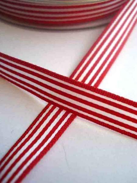 Stoffband, rot gestreift, 10 mm