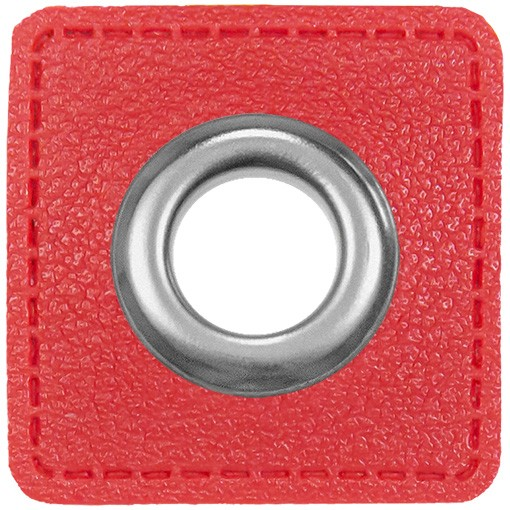 Kunstleder Ösenpatch, Quadrat, 10 mm Ø, rot