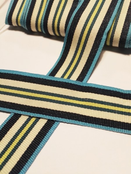 Streifen, türkis-blau-creme, Ripsband