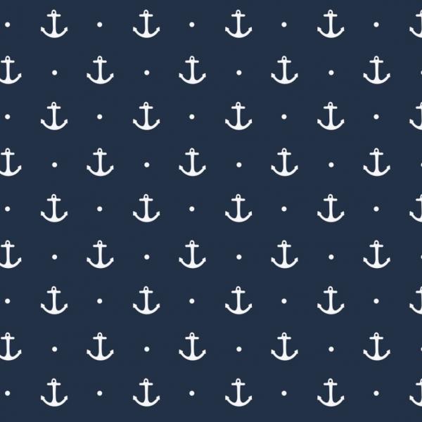 Maritim Anker, weiß auf dunkelblau, Jersey