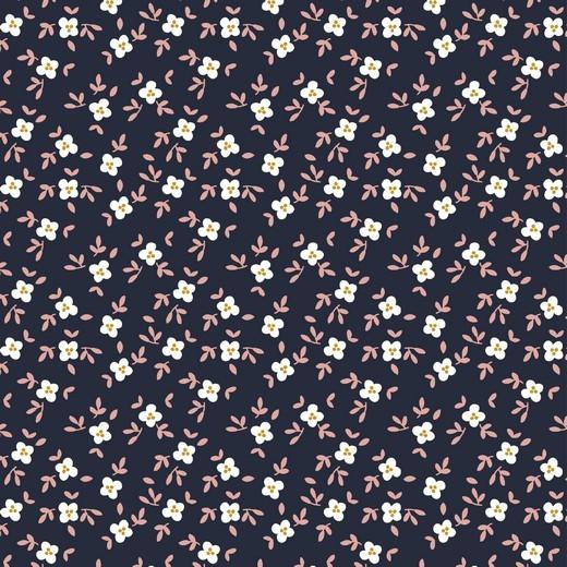 Digitaldruck Cute Goose Blümchen dunkelblau, Bio-Jersey
