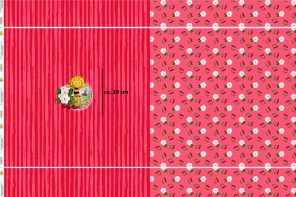 Biene Maja mit Kirschen auf rot Paneel, Jersey