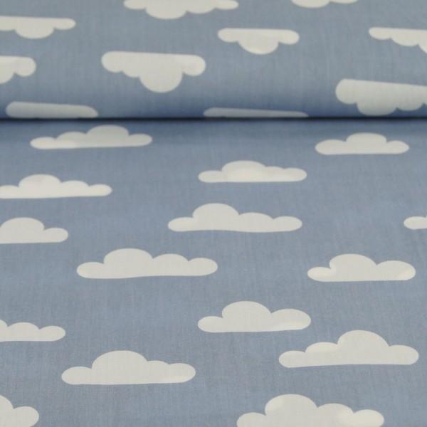 Lou, Wolken, helles rauchblau, Popeline