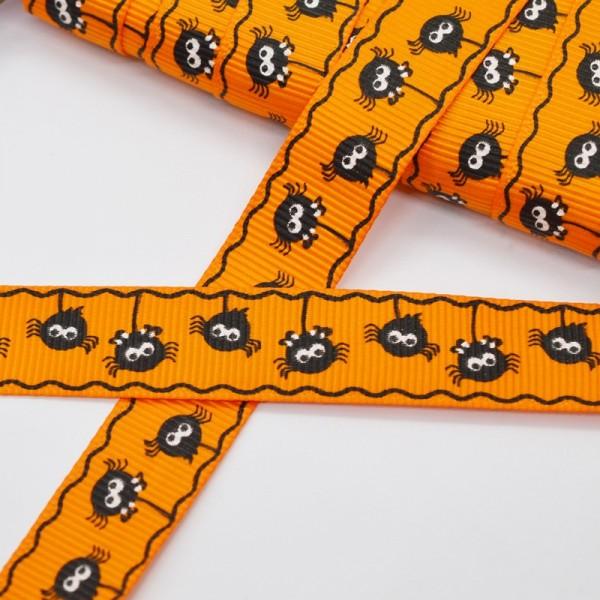 Ripsband, Halloween Spinnchen, orange