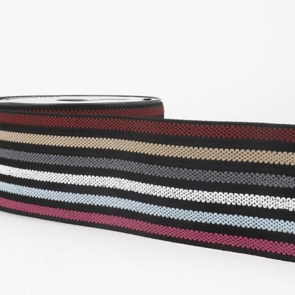Gummiband breit, 6 Farben auf schwarz, Herbst