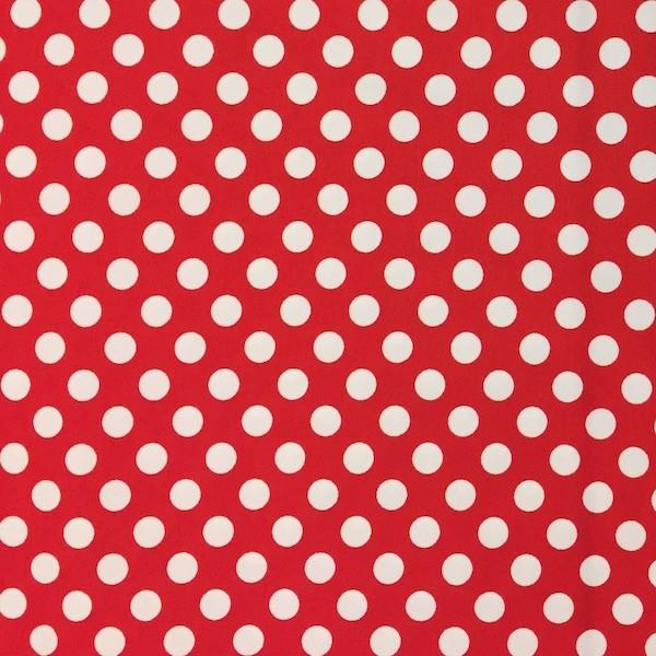 Dots weiß auf rot, Popeline