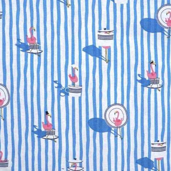 Mr. Flamingo blau gestreift, Dekostoff