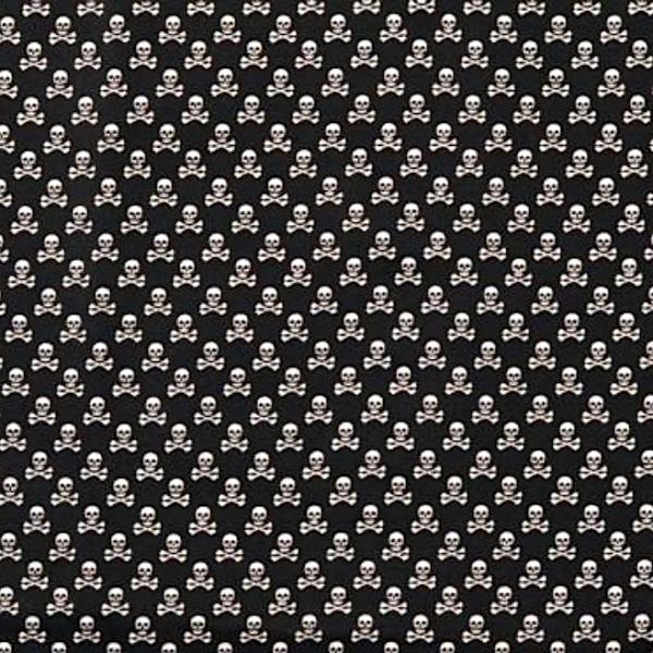 Mini-Skulls weiß auf schwarz, Webstoff