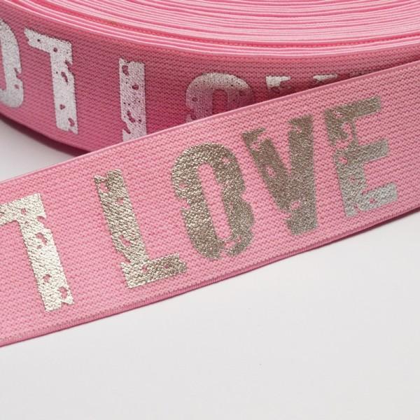 Gummiband breit, Love rosa