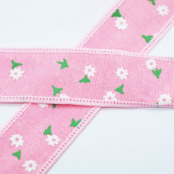 Blumen und Blätter, rosa, Baumwollband
