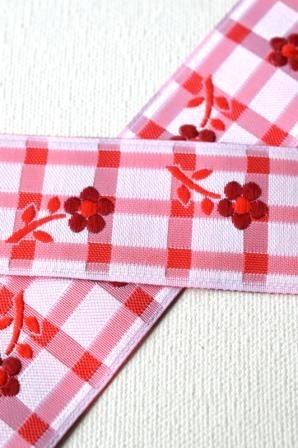 Blume auf Karo, rot, Webband breit