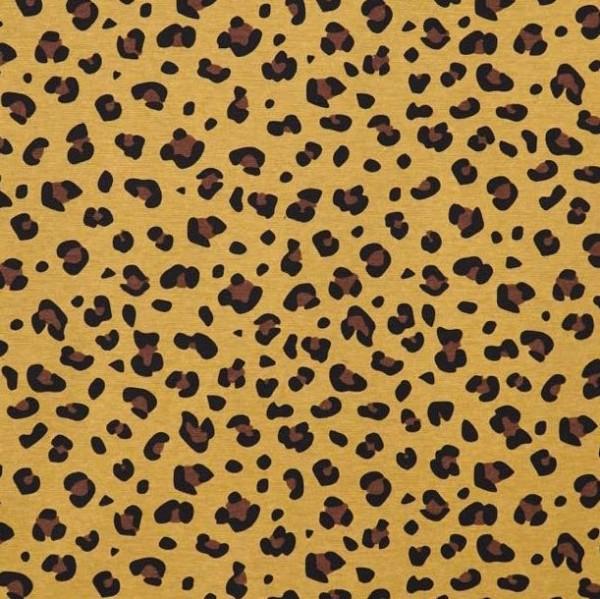 Leopardenmuster braun auf senf, Dekostoff