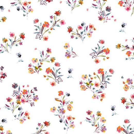 Blumensträusschen auf weiß, Jersey