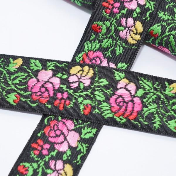 Tracht pinke Rosen auf schwarz, Webband