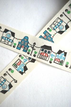 Stoffband, Häuser, bunt