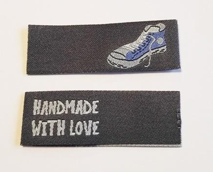 Handmade Sneaker, schwarz, Einnäher
