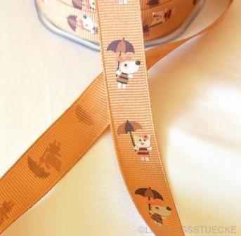 Hund mit Regenschirm, braun, Ripsband *SALE*