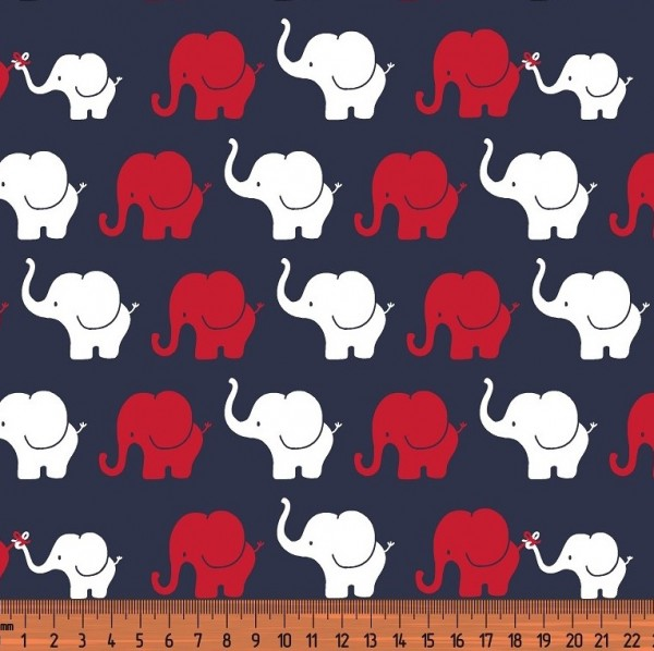 Elefantenparade rot/weiß auf nachtlblau, Jersey