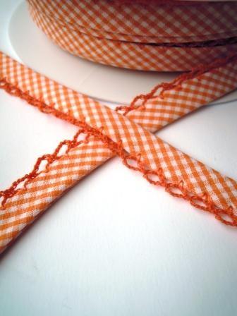 Schrägband mit Häkelborte, Vichykaro, orange