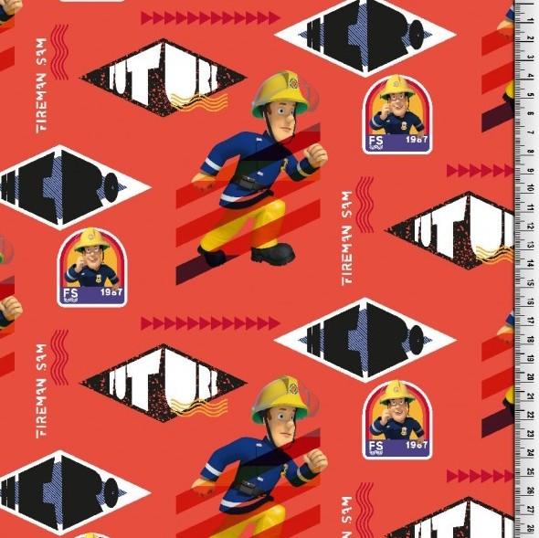 Digitaldruck Feuerwehrmann Sam auf rot, Jersey