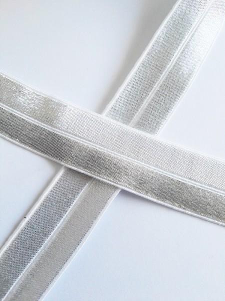 Glitzerfalzgummi, weiß-silber