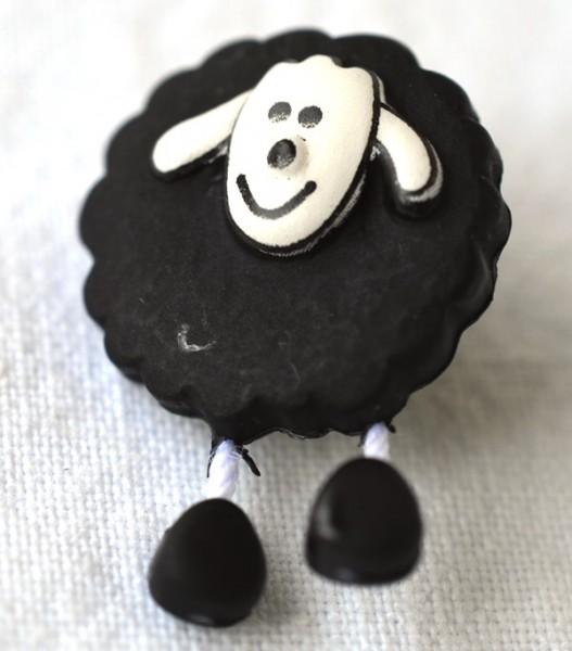 Schaf, schwarz, Knopf